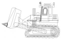 Giant constructive vehicle side elevation cad drawing details dwg file