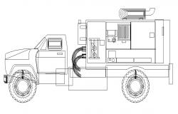 Giant engineering truck side elevation cad block details dwg file