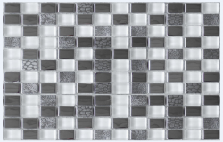 Glass and Steel mosaic with white glass design