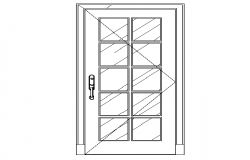 Glass door elevation cad block design dwg file