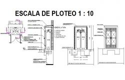 Glass gas center installation cad drawing details dwg file