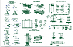 Glass mounting at wall equipment detail view dwg file