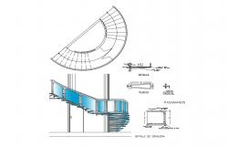 Glass stairways elevation, section, plan and construction details dwg file