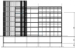 Glazed office building main elevation view dwg file