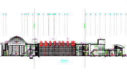 Government Building Section And Layout dwg file
