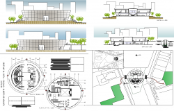 Government Building layout plan and elevation design dwg file