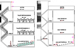 Government College Architecture Design and Elevation dwg file