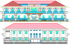 Government Head Quarters Architecture Layout and Elevation dwg file
