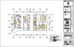 Government and teaching section of hospital dwg file