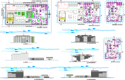 Government building floor plan,elevation and section view dwg file