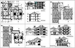 Government building of circuit house plan,elevation and sectional view dwg file