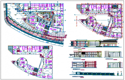 Government building plan,elevation and section view dwg file