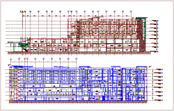 Government building sectional view dwg file