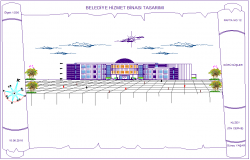 Government municipal building elevation with architectural view dwg file