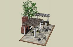 Grill restaurant and furniture layout plan 3d drawing details dwg file