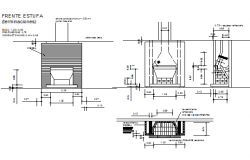 Grilled fire place section and elevation detail dwg file