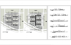 Grocery architecture layout plan and elevation in dwg files