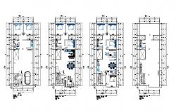 Ground, first, second, third and fourth floor plan layout details of apartment building dwg file