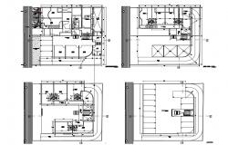Ground, first, second and terrace floor plan details of mini shopping mall dwg file
