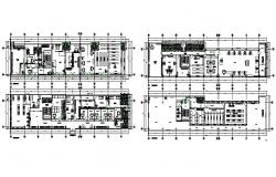 Ground, first, second and third floor layout plan details of office building dwg file