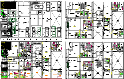 Ground, first, second and top floor architecture layout of residential building dwg file