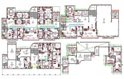 Ground, first, second & top floor layout plan of administration office dwg file