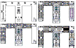 Ground, first, second and top floor plan of multi-specialty hospital dwg file