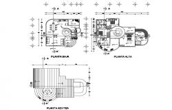 Ground, first and cover plan details of two-level house dwg file