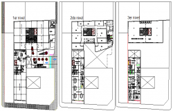 Ground, first and second floor layout plan of corporate building dwg file