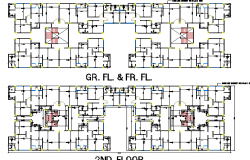 Ground, first and second floor layout plan of residential apartment floor dwg file