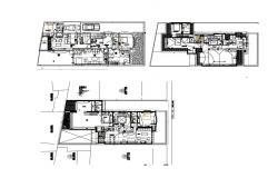 Ground, first and second floor plan details of luxuries house dwg file