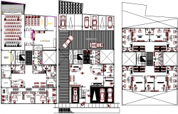 Ground, first & second floor plan details of ministry publish office building dwg file