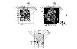 Ground, first and terrace floor plan details of luxuries bungalow dwg file