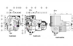 Ground, first and terrace floor plan details of one family house cad drawing details dwg file