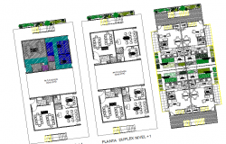 Ground, first and top floor layout plan details of residential building dwg file