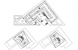 Ground, first and top floor layout plan of corporate building dwg file
