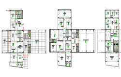 Ground, first and top floor layout plan of medical hospital dwg file
