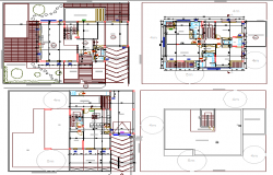 Ground, first and top floor layout plan of three level housing dwg file