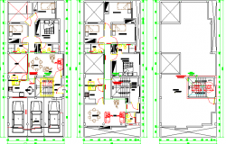 Ground, first and top floor plan of bungalow design dwg file
