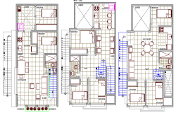 Ground, first and top floor plan of three flooring bungalow dwg file