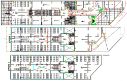 Ground, first & top floors layout plan of corporate office building dwg file