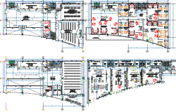 Ground, first, second and top floor layout plan details of shopping mall dwg file
