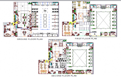 Ground, first and second floor layout plan details of hotel dwg file