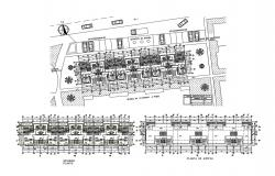 Ground, first and second floor plan details of multi-family apartment blocks dwg file