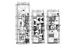 Ground, first and second floor plan details of one family house cad drawing details dwg file