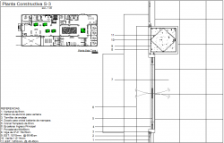 Ground Floor Tower II sectional view with construction detail dwg file
