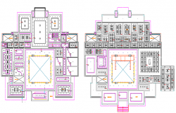 Ground and First Floor Plan of One Family Housing Project dwg file