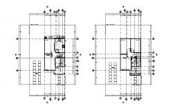 Ground and first floor framing plan details of office building dwg file