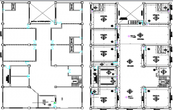 Ground and first floor general plan of office building dwg file