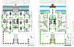 Ground and first floor layout details of office building dwg file